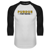 White/Black Raglan Baseball T Shirt-Athletics Primary Wordmark