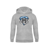 Youth Grey Fleece Hood-IPFW Mastodon Shield