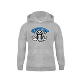 Youth Grey Fleece Hood-Arched IPFW with Mastodon