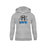 Youth Grey Fleece Hood-Mastodon with IPFW