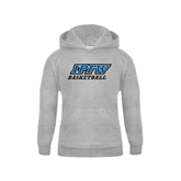 Youth Grey Fleece Hood-Basketball