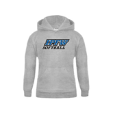 Youth Grey Fleece Hood-Softball