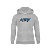 Youth Grey Fleece Hood-Soccer