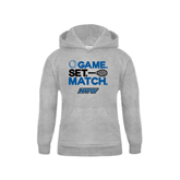 Youth Grey Fleece Hood-Game Set Match Tennis Design