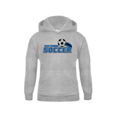 Youth Grey Fleece Hood-Soccer Swoosh Design