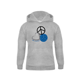 Youth Grey Fleece Hood-Peace, Love, and Volleyball