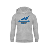 Youth Grey Fleece Hood-Track and Field Side Shoe Design