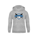 Youth Grey Fleece Hood-Softball Bats and Plate Design