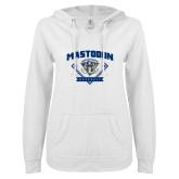 ENZA Ladies White V Notch Raw Edge Fleece Hoodie-Mastodon Baseball