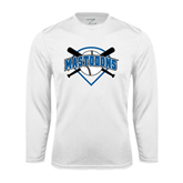 Syntrel Performance White Longsleeve Shirt-Softball Bats and Plate Design