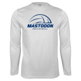 Performance White Longsleeve Shirt-Mastodon Volleyball