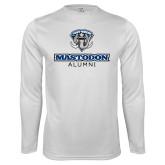 Performance White Longsleeve Shirt-Mastodon Alumni