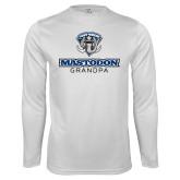 Performance White Longsleeve Shirt-Mastodon Grandpa