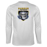 Performance White Longsleeve Shirt-Primary Athletic Logo