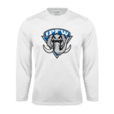 Syntrel Performance White Longsleeve Shirt-IPFW Mastodon Shield
