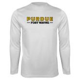 Performance White Longsleeve Shirt-Athletics Primary Wordmark