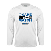 Syntrel Performance White Longsleeve Shirt-Game Set Match Tennis Design