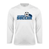 Syntrel Performance White Longsleeve Shirt-Soccer Swoosh Design
