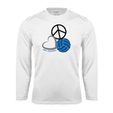 Syntrel Performance White Longsleeve Shirt-Peace, Love, and Volleyball