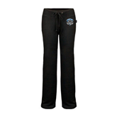 ENZA Ladies Black Fleece Pant-IPFW Mastodon Shield
