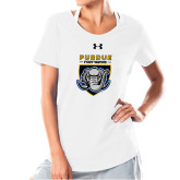 Ladies Under Armour White Charged Cotton Tee-Primary Athletic Logo