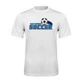 Syntrel Performance White Tee-Soccer Swoosh Design