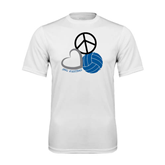 Syntrel Performance White Tee-Peace, Love, and Volleyball
