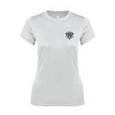 Ladies Syntrel Performance White Tee-IPFW Mastodon Shield