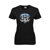 Ladies Black T Shirt-IPFW Mastodon Shield