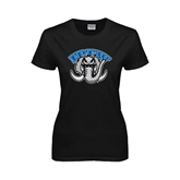 Ladies Black T Shirt-Arched IPFW with Mastodon