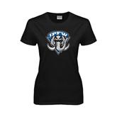 Ladies Black T Shirt-IPFW Mastodon Shield Distressed