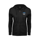 ENZA Ladies Black Fleece Full Zip Hoodie-Arched IPFW with Mastodon