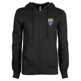 ENZA Ladies Black Fleece Full Zip Hoodie-Primary Athletic Logo