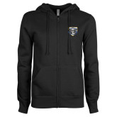 ENZA Ladies Black Fleece Full Zip Hoodie-Icon