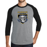 Grey/Black Tri Blend Baseball Raglan-Primary Athletic Logo