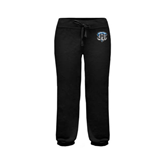 ENZA Ladies Black Banded Fleece Capri-IPFW Mastodon Shield