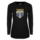 Ladies Syntrel Performance Black Longsleeve Shirt-Primary Athletic Logo