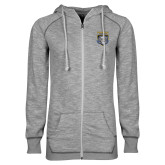 ENZA Ladies Grey/Black Marled Full Zip Hoodie-Primary Athletic Logo