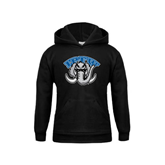 Youth Black Fleece Hoodie-Arched IPFW with Mastodon