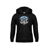 Youth Black Fleece Hoodie-IPFW Mastodon Shield