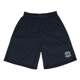 Performance Black 9 Inch Length Shorts-IPFW Mastodon Shield