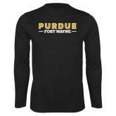 Performance Black Longsleeve Shirt-Athletics Primary Wordmark