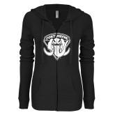 ENZA Ladies Black Light Weight Fleece Full Zip Hoodie-Primary Mark