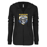 ENZA Ladies Black Light Weight Fleece Full Zip Hoodie-Primary Athletic Logo