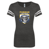 ENZA Ladies Black/White Vintage Football Tee-Primary Athletic Logo