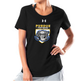 Ladies Under Armour Black Charged Cotton Tee-Primary Athletic Logo