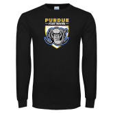 Black Long Sleeve T Shirt-Primary Athletics Logo Distressed