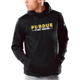 Under Armour Black Armour Fleece Hoodie-Athletics Primary Wordmark