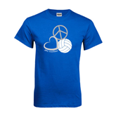 Royal T Shirt-Peace, Love, and Volleyball