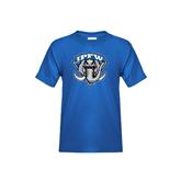 Youth Royal T Shirt-IPFW Mastodon Shield Distressed